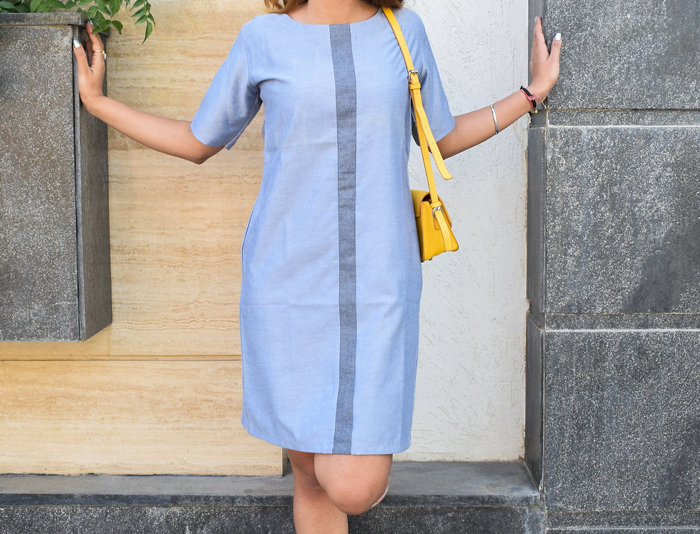 Grey Chambray Dress with Color Blocked Panels