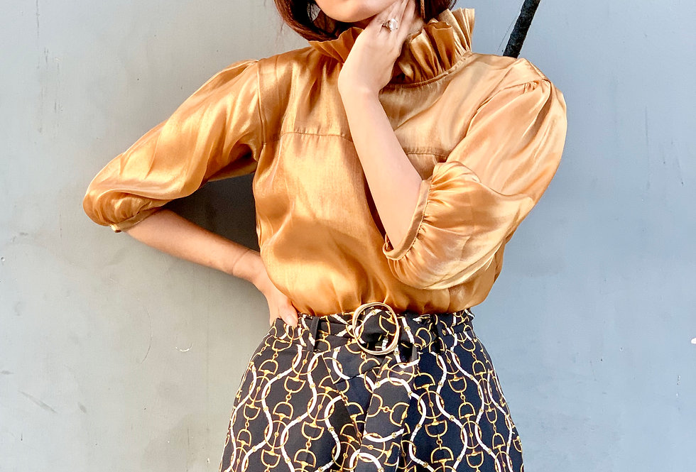 Gold Organza Top with Frill Collar