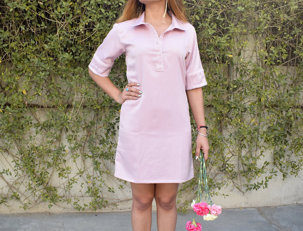 Light Pink Velvet Crepe Dress with Polka Dots Texture