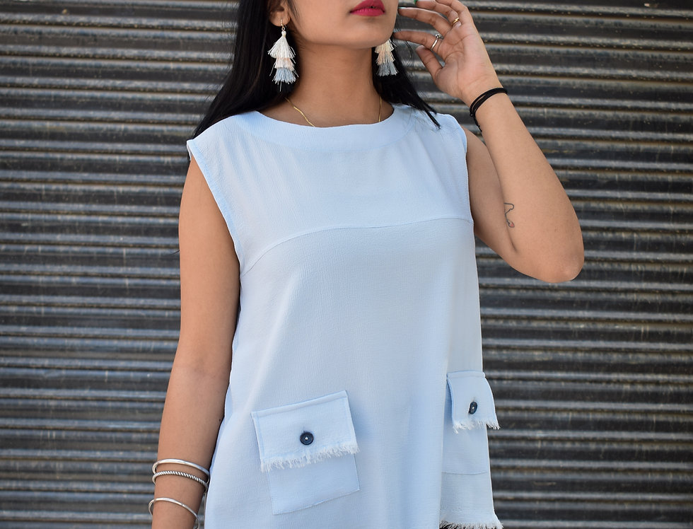 Sleeveless Blue Crepe Top with Pockets and Fringes