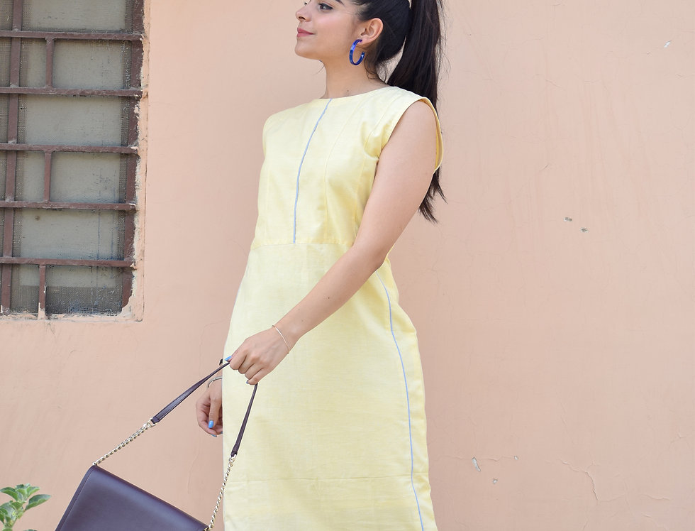 Light Yellow Dress with Sky Blue Piping