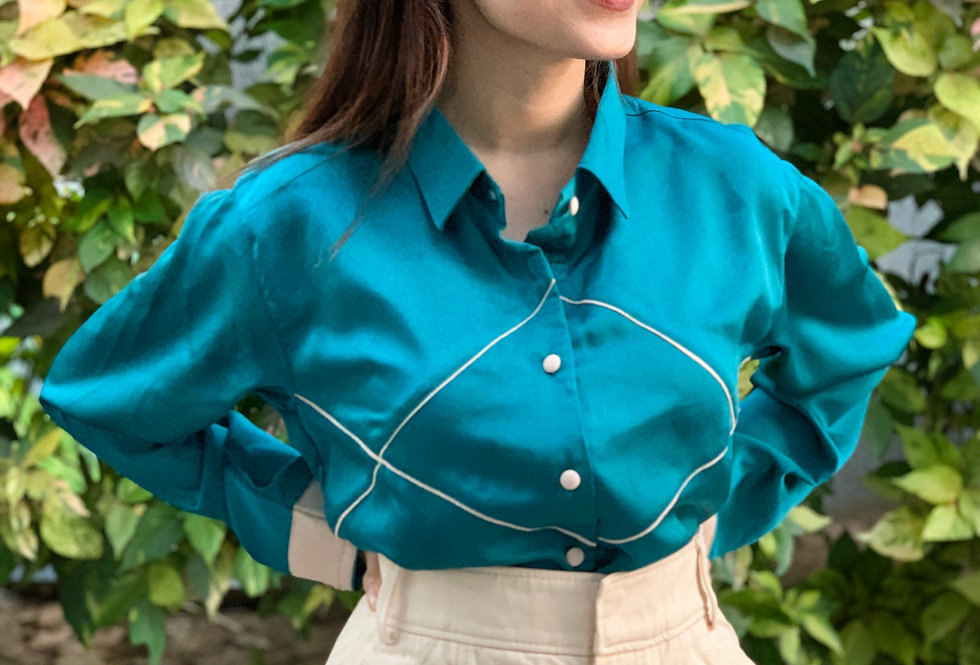 Turqoise Shirt with Criss-Cross Piping Detail