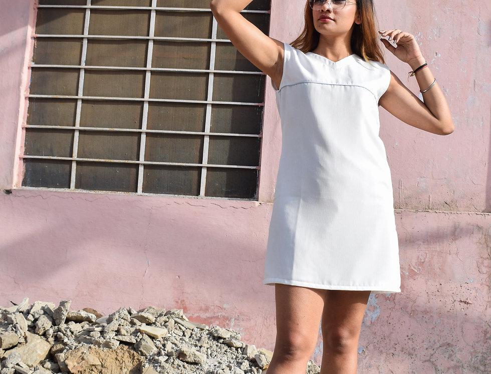 Sleeveless White Crepe Dress with Blue Detailing