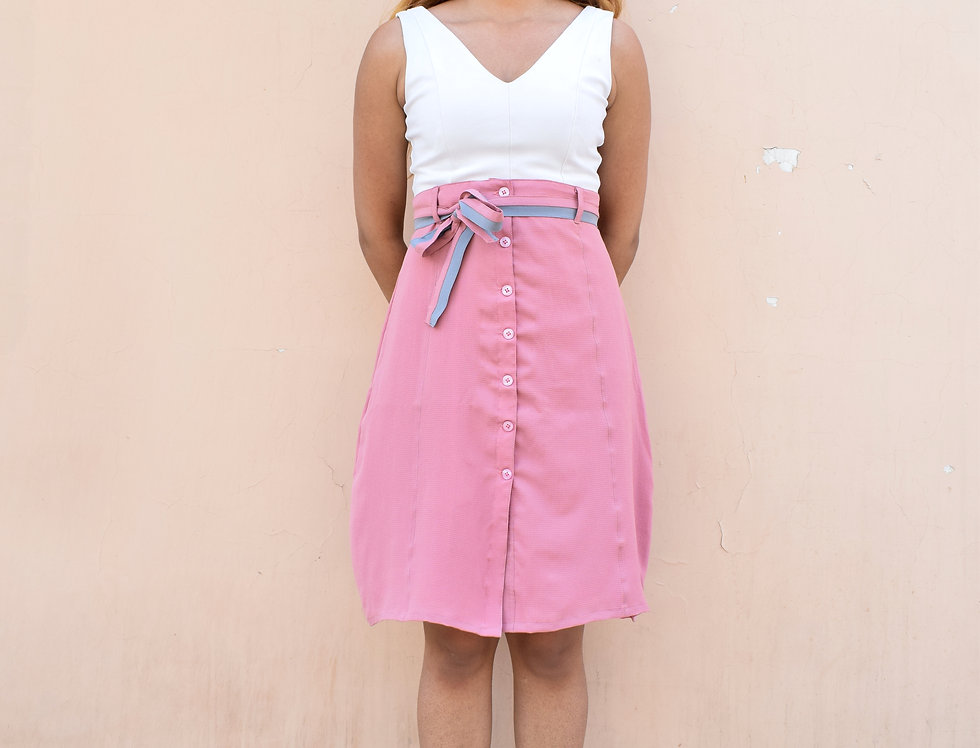 Pink Crepe Skirt With A Color Blocked Belt