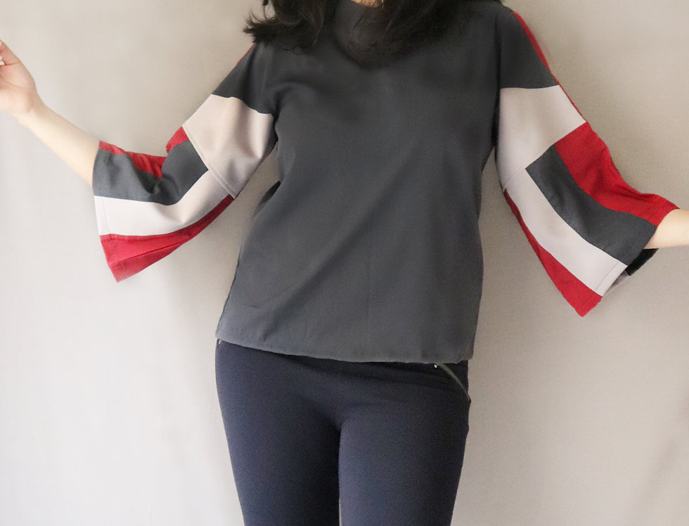 Multi Color Flared Sleeve Crepe Top
