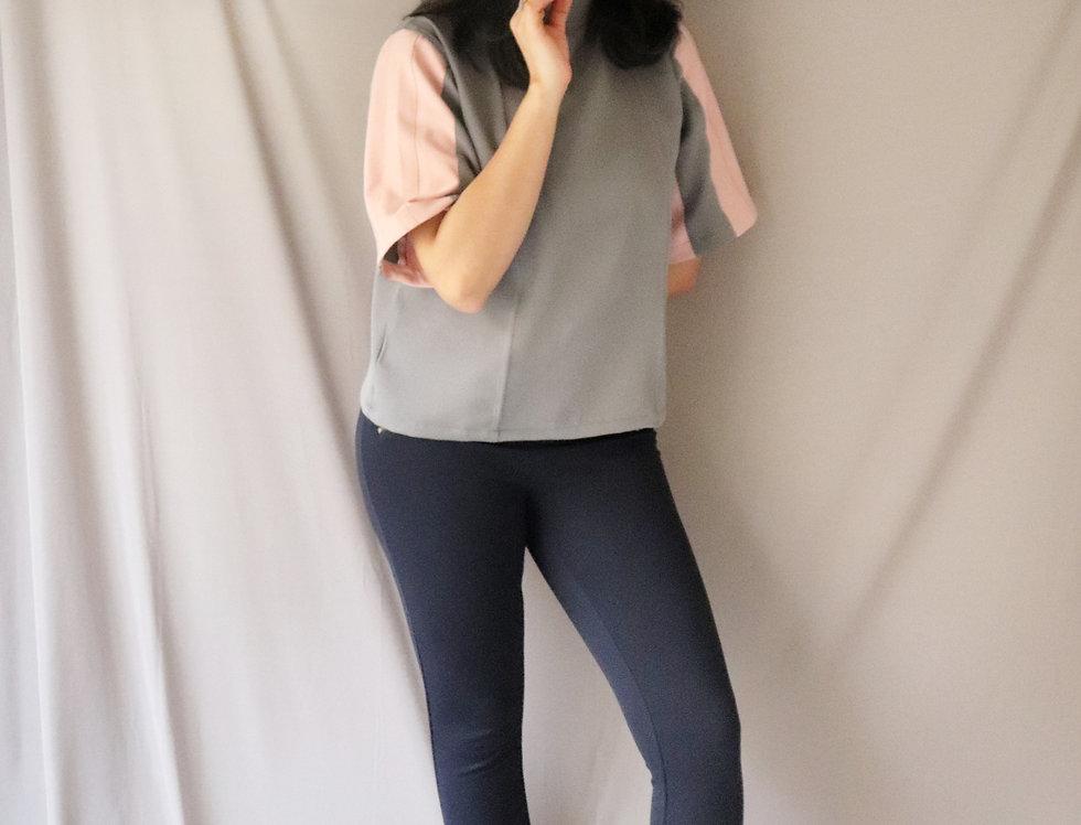 Grey + Pink Crepe Top