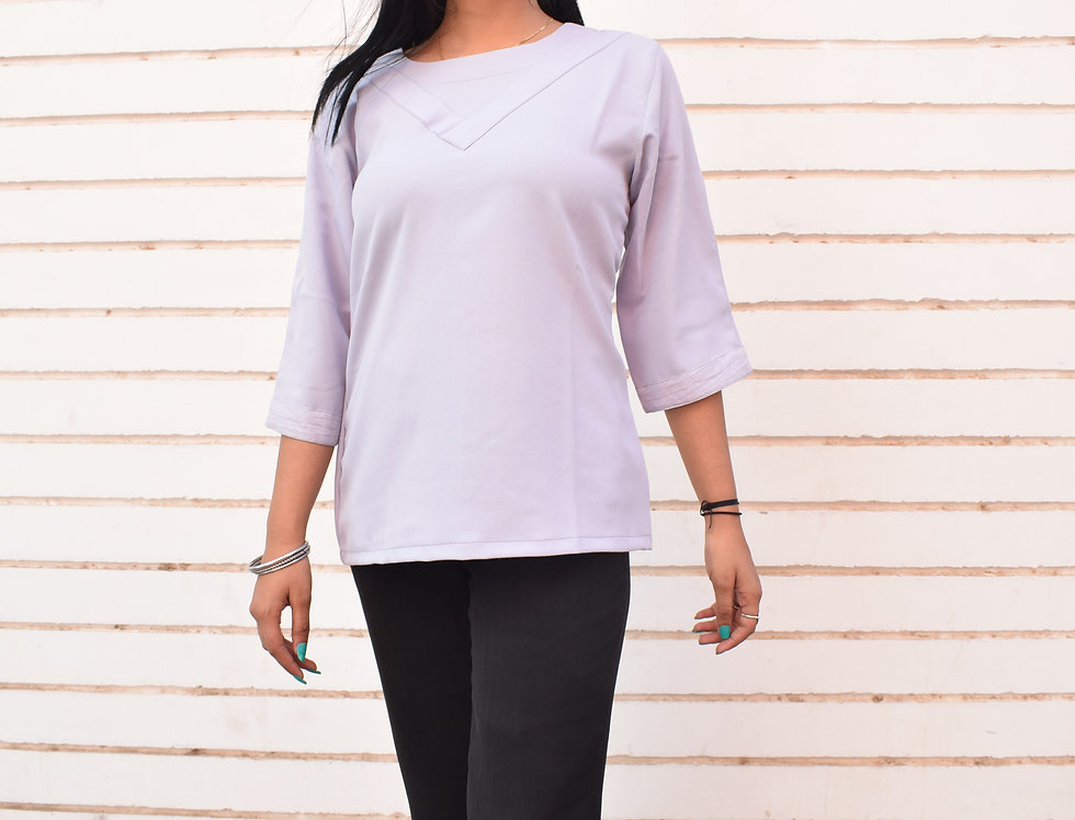 Purple Crepe Top with Panel and Sleeve Detailing
