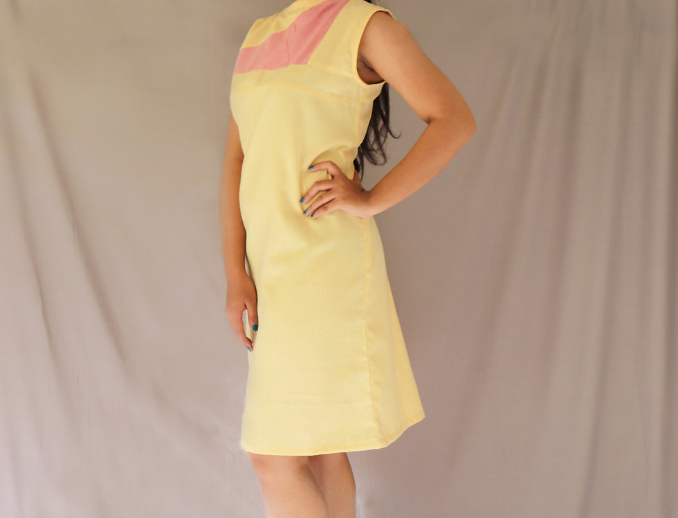 Yellow + Pink Chambray Dress