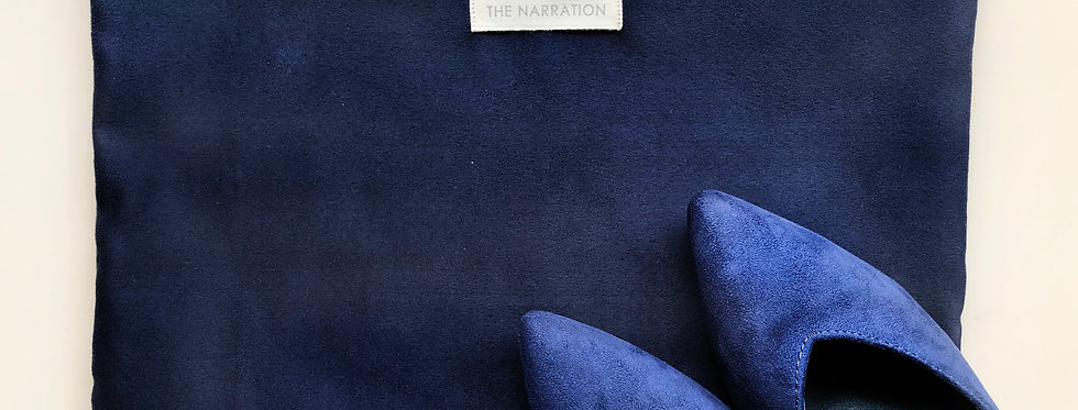 Navy Blue Suede Zip Pouch (Rectangle)
