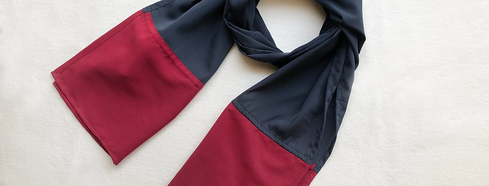Grey and Maroon Crepe Scarf