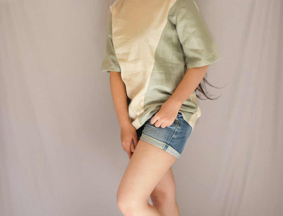 Beige + Green Linen Top