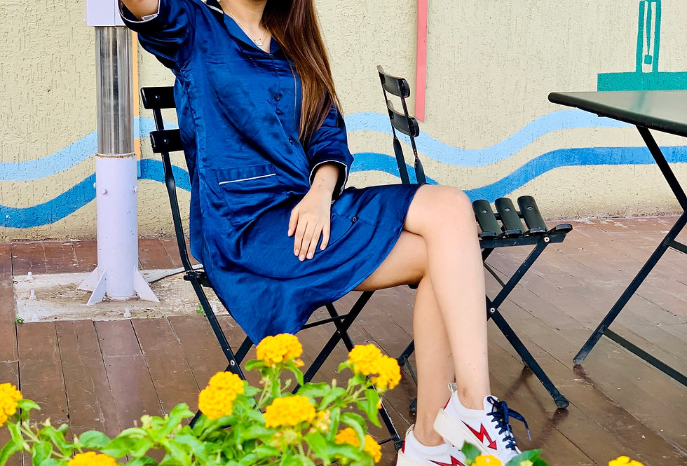 Electric Blue Collar Dress with Silver Detailing