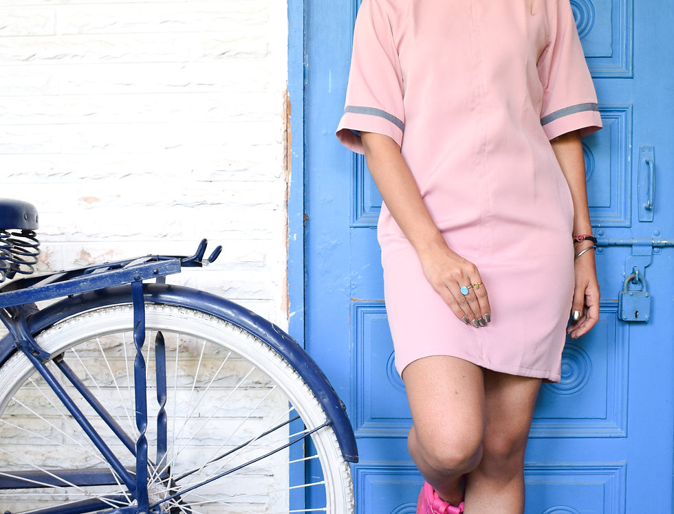 High Neck Pink Dress With Textured Sleeve Panels