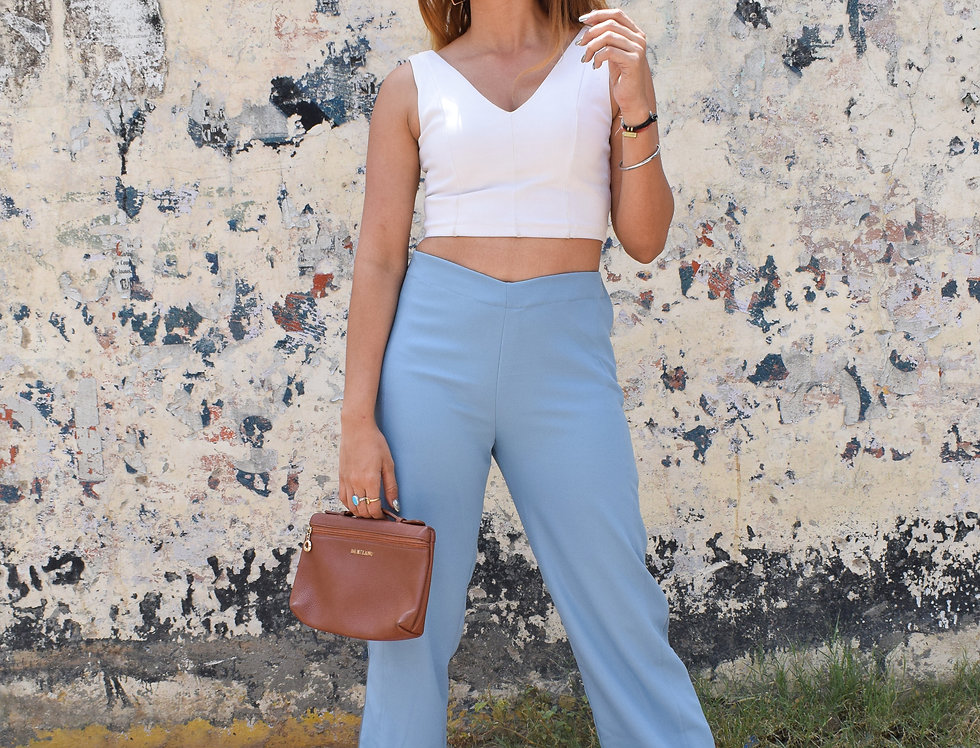 Flared Trousers in Blue With Color Blocked Piping