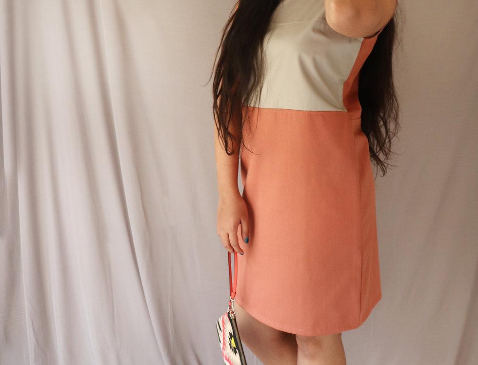 Grey + Orange Sleeveless Cotton Twill Dress