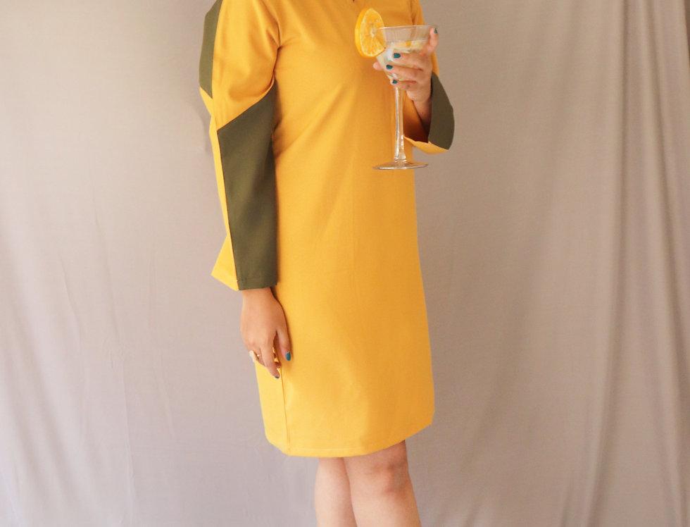 Mustard + Military Crepe Dress