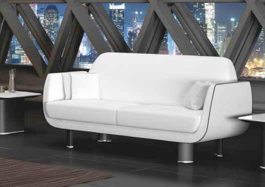 Sofa Alfa en cuero Blanco y dettale en cuero Negro