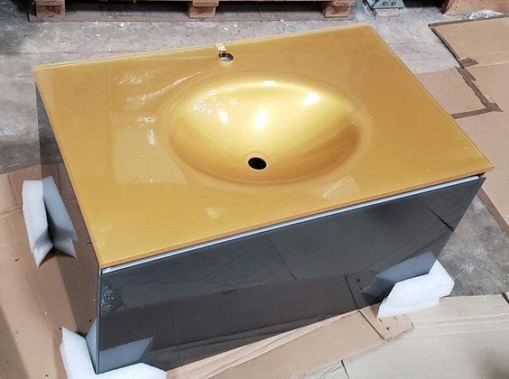 Monolite en vidrio gris con top vidrio oro