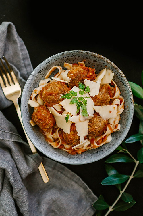 Pasta Marinara with Nonna's Meatballs