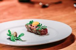 Steak tartare | sous vide quail yolk | lovage & kombu salt