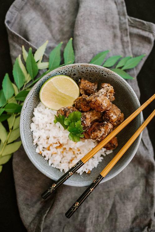 Chicken Karaage   Jasmine rice   Japanese curry sauce