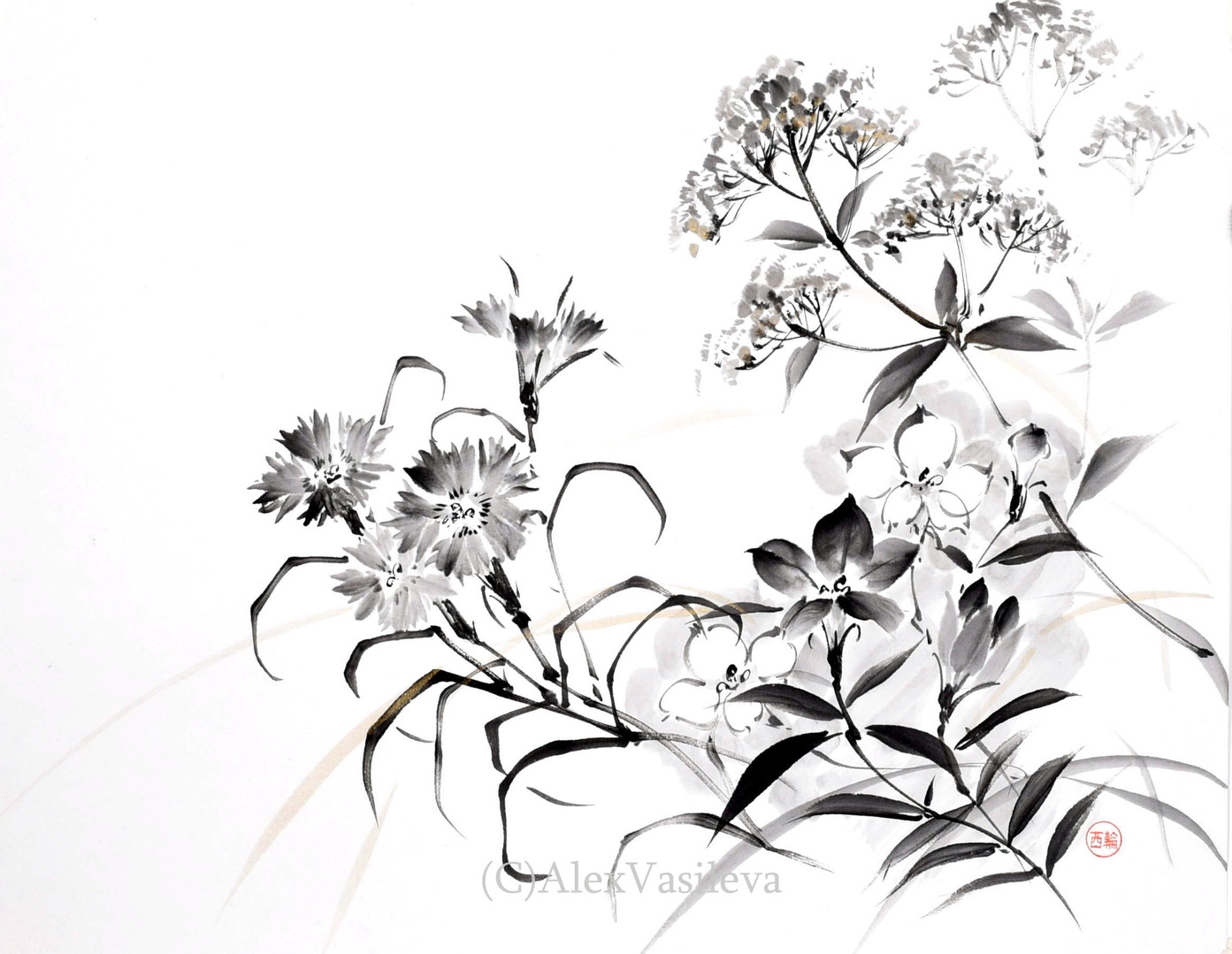 Осенние травы. 40*30