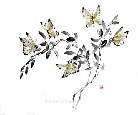 бабочки на орхидее.jpg