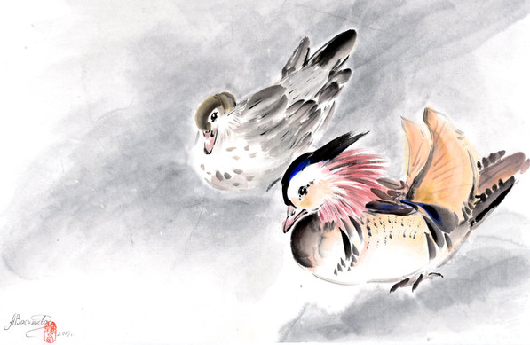 Утки-мандаринки 34*50