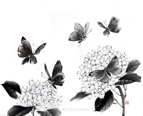 бабочки и гортензии.jpg