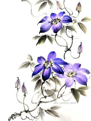 Клематис фиолетовый 30*40