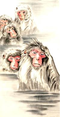Японские обезьяны в горячем источнике, ф