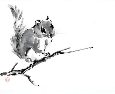 Японская белка летяга с шишкой 33*24