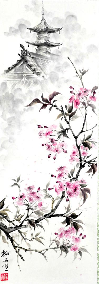 Весна в Японии. Свиток. 35*60