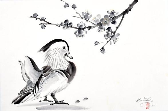 Утка мандаринка с веткой сливы 34*50