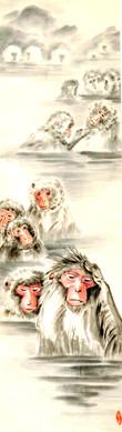 Японские обезьяны в горячеем источние. ф