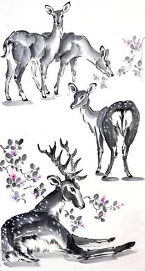 Пятнистые олени в цветах хаги. 35*100