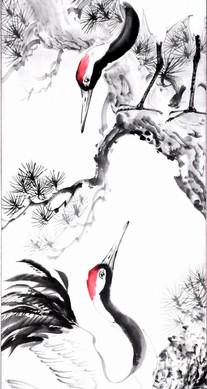 Японский журавль, фрагмент работы.jpg