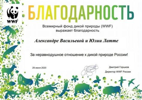 2020 Благодарность от Всемирного фонда дикой природы WWF