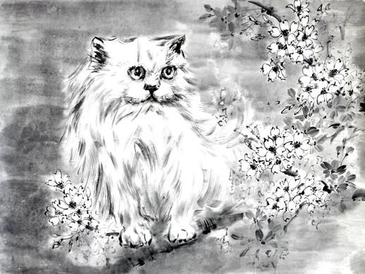 Кот в сакуре. Юкико - снежный ребенок.  37*34