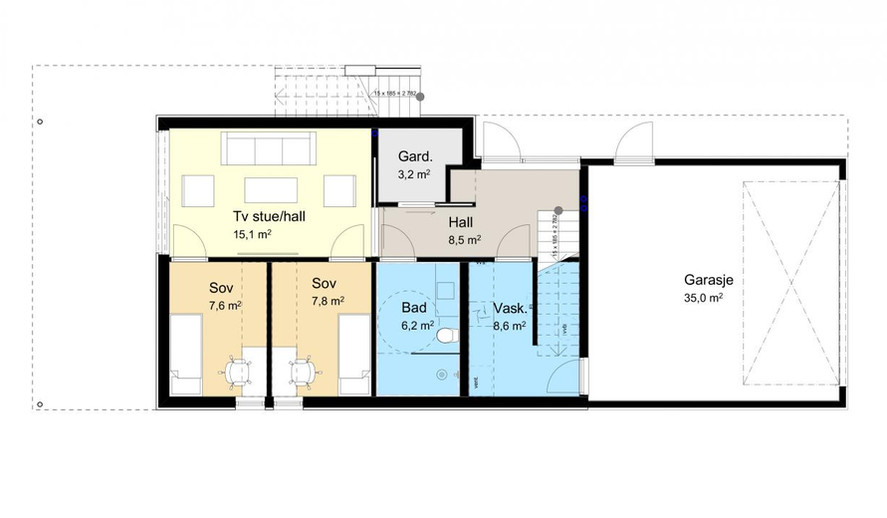 Planløsning 1. etasje