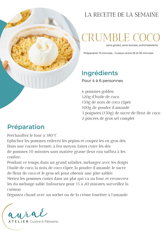 Recette Crumble coco