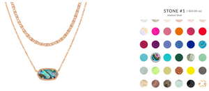 Customizable jewelry by allowing customers to choose from different stone colors to put on their necklace.