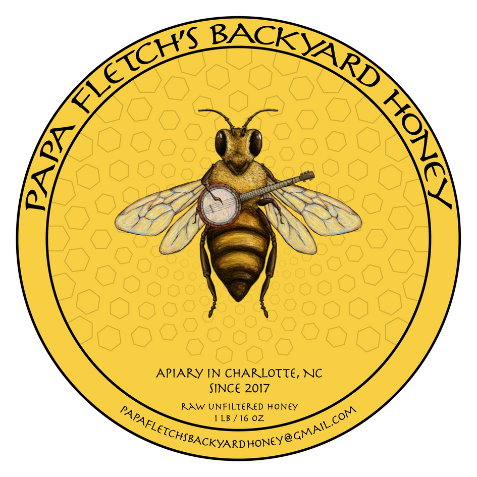 Papa Fletch's Backyard Honey Label