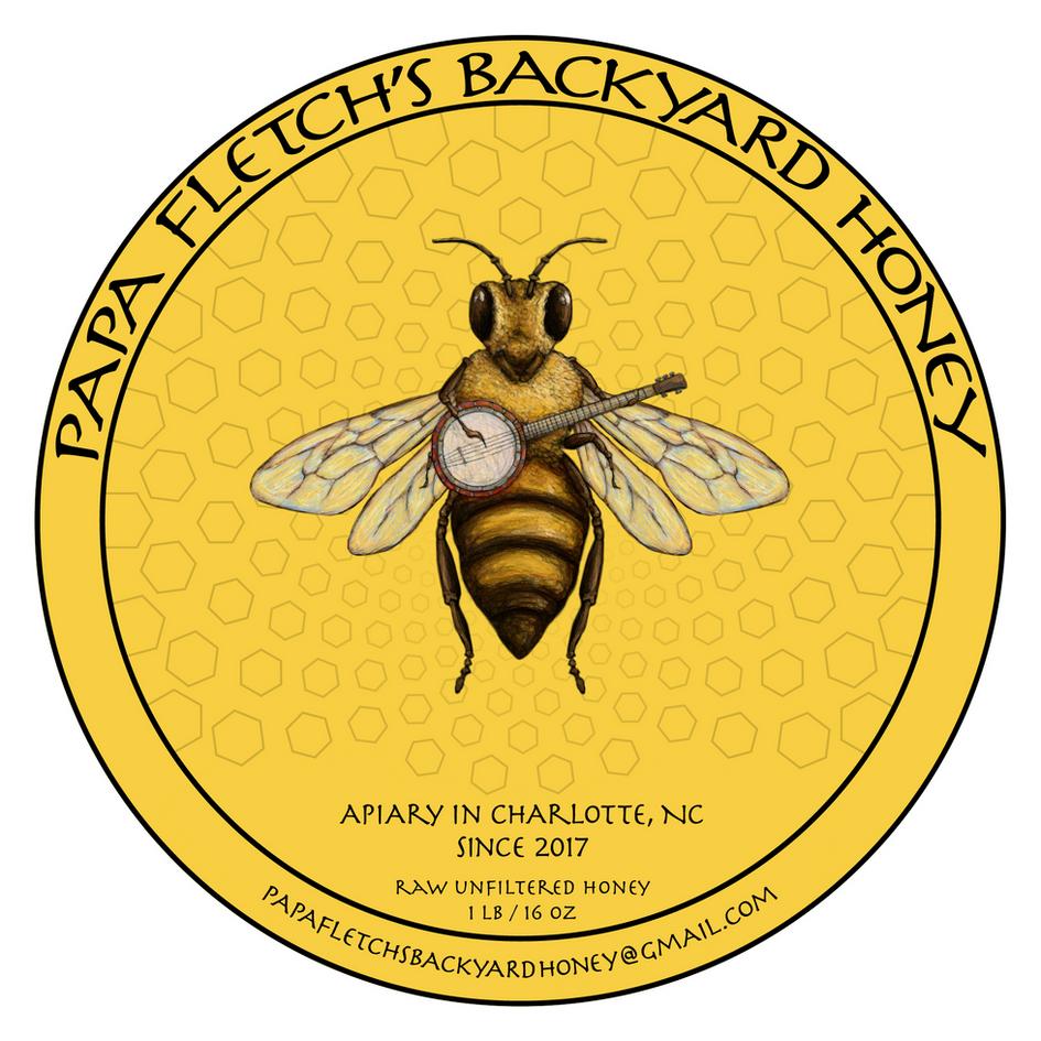 Papa Fletch's Backyard Honey Label