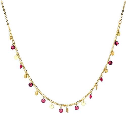 C58 Collar con chrams y piedras de color.