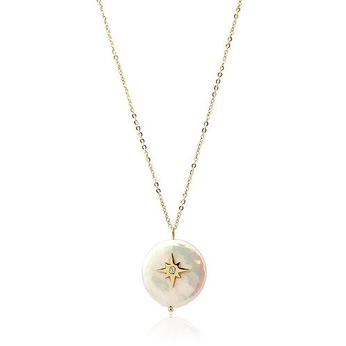 C45 Collar de acero quirúrgico con circonitas y perla cultivada.