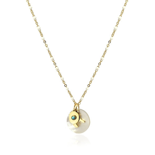 C24 Collar de acero quirúrgico con detalle en forma de coral y turquesa.