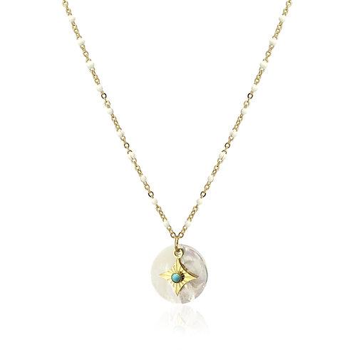 C25 Collar de acero quirúrgico en forma de diamante y turquesa.