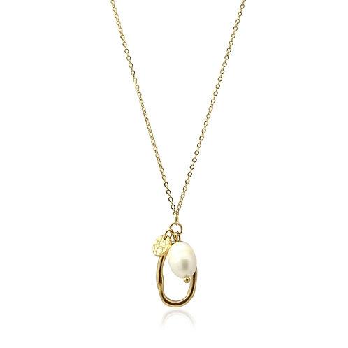 C43 Collar de acero quirúrgico y perla cultivada.