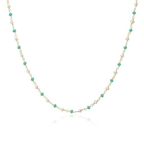 C56 Collar con cristales de colores y perlas.